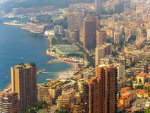 Panoramic view of the city of Monte Carlo and The Mediterranean Sea, Monaco royalty free stock photography