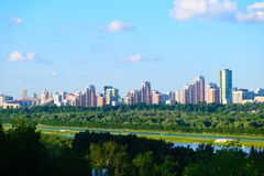 Panoramic view of the city of Moscow from the hill stock photos