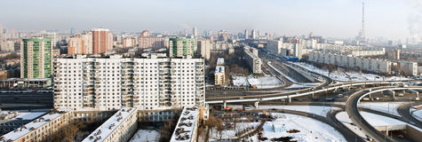 Panoramic view of the city of Moscow in winter Stock Photo