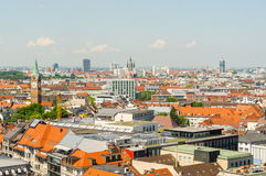 Panoramic view of the city Munich in Bavaria, Germany.  Royalty Free Stock Images