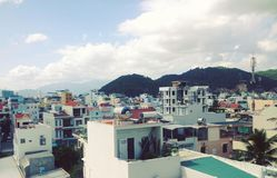 Beautiful view of the sunny tourist Asian city of Nha Trang, Vietnam stock photography