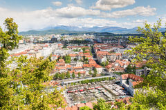 Panoramic view of a city with outdoor market Royalty Free Stock Image