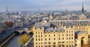 Panoramic view of the city of Paris as seen from Notre Dame cathedral. royalty free stock photos