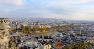 Panoramic view of the city of Paris as seen from Notre Dame cathedral. stock image