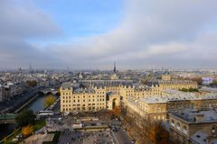 Panoramic view of the city of Paris as seen from Notre Dame cathedral royalty free stock image
