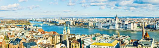 Panoramic view of city and the Parliament building from the Buda Royalty Free Stock Images