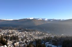 Panoramic view of the city resort Sinaia and the mountains in th Royalty Free Stock Photo