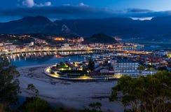 Panoramic view of the city of Ribadesella Stock Image