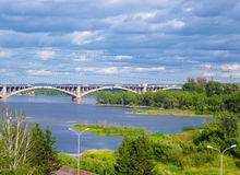 Panoramic view of the city from the river. Bridge Royalty Free Stock Images