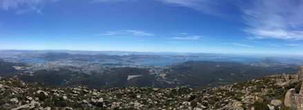 Australia day - Panoramic View of City and River from a mountain. Taken from the peak of Mt. Wellington - This photo contains the city of hobart. Great for Royalty Free Stock Photography