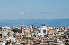 Panoramic view of the city of Rome Italy with the observation platform on the hill near the monument to Garibaldi Stock Photography