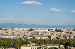 Panoramic view of the city of Rome Italy with the observation platform on the hill near the monument to Garibaldi Stock Photo