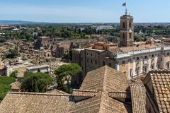 Panoramic view of City of Rome from the roof of Altar of the Fatherland, Italy. ROME, ITALY - JUNE 23, 2017:  Panoramic view of City of Rome from the roof of Stock Image
