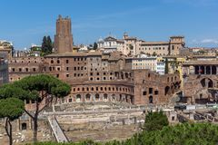 Panoramic view of City of Rome from the roof of Altar of the Fatherland, Italy. ROME, ITALY - JUNE 23, 2017:  Panoramic view of City of Rome from the roof of Royalty Free Stock Photography