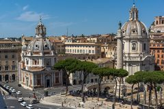 Panoramic view of City of Rome from the roof of Altar of the Fatherland, Italy. ROME, ITALY - JUNE 23, 2017:  Panoramic view of City of Rome from the roof of Stock Photography