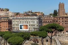 Panoramic view of City of Rome from the roof of Altar of the Fatherland, Italy. ROME, ITALY - JUNE 23, 2017:  Panoramic view of City of Rome from the roof of Stock Photo