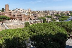 Panoramic view of City of Rome from the roof of Altar of the Fatherland, Italy. ROME, ITALY - JUNE 23, 2017:  Panoramic view of City of Rome from the roof of Royalty Free Stock Images