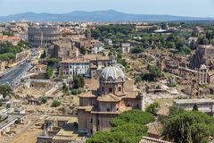 Panoramic view of City of Rome from the roof of  Altar of the Fatherland, Italy. ROME, ITALY - JUNE 23, 2017:  Panoramic view of City of Rome from the roof of Stock Images