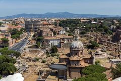Panoramic view of City of Rome from the roof of Altar of the Fatherland, Italy. ROME, ITALY - JUNE 23, 2017:  Panoramic view of City of Rome from the roof of Stock Photos