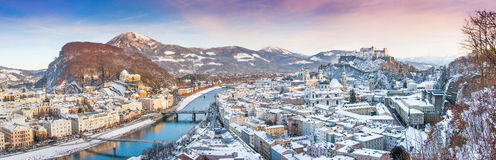 Panoramic view of the city of Salzburg in winter, Austria Stock Photos