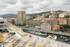 Panoramic view of the city of Savona a cruise ship Royalty Free Stock Images