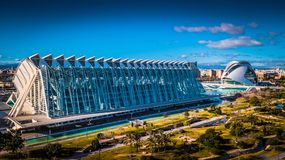 Panoramic View of the city of Sciences and arts in Valenciain Valencia, Spain. Panoramic View of the city of Sciences and arts, Spain Royalty Free Stock Photos