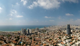 Panoramic view of the city by the sea Stock Images
