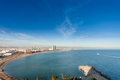 Panoramic view of city seascape with Barceloneta beaches Stock Photography