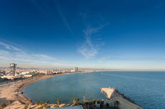 Panoramic view of city seascape with San Sebastian Royalty Free Stock Photos