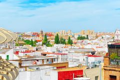 Panoramic view of the city of Seville from the observation platf. Orm Metropol Parasol, locally also known as Las Setas. Spain Royalty Free Stock Image