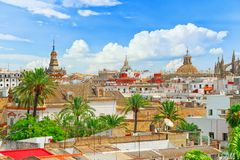 Panoramic view of the city of Seville from the observation platf stock image