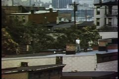 Panoramic view of city skyline and rooftops stock video
