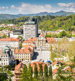 Panoramic view of a city with a square Stock Photography