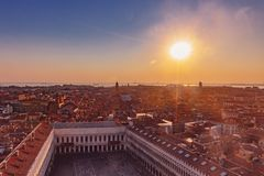 Panoramic view of the city and St. Mark`s Square at sunset in Ve stock photo