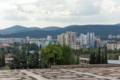 Panoramic view of city of Stara Zagora, Bulgaria. STARA ZAGORA, BULGARIA - AUGUST 5, 2018: Panoramic view of city of Stara Zagora, Bulgaria stock photo