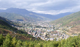 The panoramic view of the city of Thimphu. Shot from  the Buddha Point, located atop a nearby hill top Royalty Free Stock Photos
