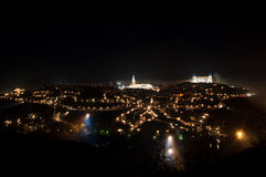 Panoramic view of the city of Toledo, at night Royalty Free Stock Photos