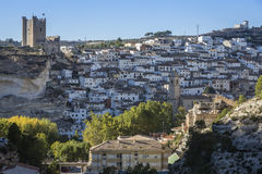 Panoramic view of the city, on top of limestone mountain is situated Castle of the 12TH century Almohad origin, take in. Alcala del Jucar, Spain - October 29 royalty free stock photography