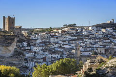 Panoramic view of the city, on top of limestone mountain is situated Castle of the 12TH century Almohad origin, take in. Alcala del Jucar, Spain - October 29 stock photography