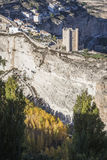 Panoramic view of the city, on top of limestone mountain is situated Castle of the 12TH century Almohad origin, take in. Alcala del Jucar, Spain - October 29 royalty free stock images