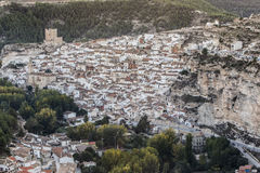 Panoramic view of the city, on top of limestone mountain is situated Castle of the 12TH century Almohad origin, take in. Alcala del Jucar, Spain - October 29 stock image