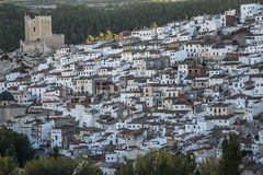 Panoramic view of the city, on top of limestone mountain is situated Castle of the 12TH century Almohad origin, take in. Alcala del Jucar, Spain - October 29 royalty free stock photo