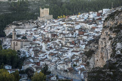 Panoramic view of the city, on top of limestone mountain is situated Castle of the 12TH century Almohad origin, take in. Alcala del Jucar, Spain - October 29 stock photo
