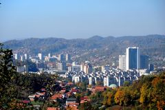 Panoramic view of city of Tuzla from the east Royalty Free Stock Image