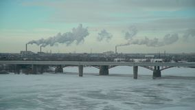 City with Plants that Polluting the Atmosphere. Panoramic View of the City in Winter Day. Lots of Plants Polluting the Atmosphere. Ecology concept stock footage