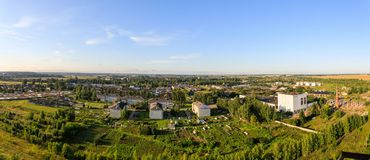 Panoramic view of the city of Yaransk in the central part of Russia during the summer sunrise Stock Photography