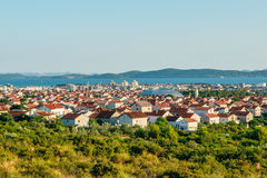Panoramic view of the city of Zadar from nearby road stock photos