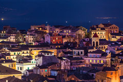 Panoramic view of the citylights of Corfu Town at night Royalty Free Stock Photos