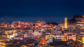 Panoramic view of the citylights of Corfu Town at night Stock Image