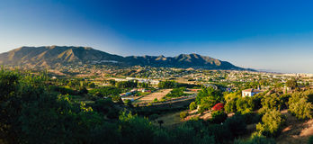 Panoramic View Of Cityscape Of Mijas in Malaga Stock Images